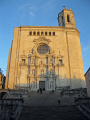 girona spain cathedral lit evening sun french buildings european catedral catalonia esgl sia church espagne espa religious catholic spanien la spagna