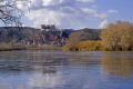 tarragona region spain village castle miravet overlooking river ebre. catalunya catalonia spanish espana european espagne espa boat bateau mediaeval fortified costa brava spanien la spagna