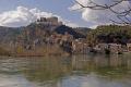 tarragona region spain village castle miravet overlooking river ebre. catalunya catalonia spanish espana european espagne espa mediaeval fortified reflections costa brava spanien la spagna