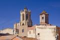 spanish city tarragona looking roof tops cathedral santa tecla costa dorada mediterranean catalunya catalonia espana european iglesia esgl sia church espagne espa religious catholic daurada durada brava spain spanien la spagna