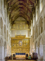 wymondham abbey norfolk england interior uk cathedrals worship religion christian british architecture architectural buildings altar screen golden guilded historic medieval religious building rood st mary thomas canterbury tester english angleterre inghilterra inglaterra united kingdom