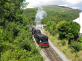 welsh highland railway train leaves beddgelert station bound porthmadoc steam engines transport transportation engine preserved snowdonia gwynedd wales pa gales united kingdom british