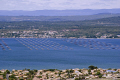 languedoc france view mont st clair te looking north oyster parks tables ostreicoles bouzigues french landscapes european herault montpellier mediterranean bassin thau seafood coquillages huitres roussillon la francia frankreich