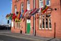 flags display 2010 football world cup corner bar crewe soccer sports sporting england cheshire english angleterre inghilterra inglaterra united kingdom british