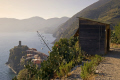 italy cinque terre hut start sentiero azzurro town vernazza distance liguria italian european italia riviera mediterranean lands italien italie