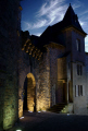 village corr ze limousin france port margot night french buildings european correze mediaeval medieval walled gate church eglise fortified twilight evening cirrus la francia frankreich