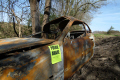 burnt car ditch crime police cops uk emergency services aware rural gloucestershire england english angleterre inghilterra inglaterra united kingdom british