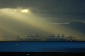 gibraltar crepuscular rays bahia algeciras sunsets sky natural history nature spain spanish espagna andalusia cadiz uk united kingdom britain british pillars hercules heracles rock mediterranean twlight evening meteorology weather harbour port gibraltarian