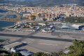 spanish town la nea concepci runway terminal buildings gibraltar airport uk colonies spain espagna andalusia costa del sol united kingdom britain british pillars hercules heracles rock mediterranean maritime gibraltarian