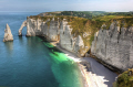 view sea beach cliffs etretat normandy france french european haut normandie needle rocks summer travel horizon sky seascape holiday tourism europe haute la francia frankreich