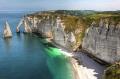 view sea beach cliffs etretat normandy france french european haut normandie needle rocks summer travel horizon sky seascape holiday tourism europe haute la francia frankreich