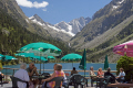 taking refreshments overlooking beautiful lac gaube french pyr es landscapes european france hautes midi pyrenees cauterets lourdes pau mountains alpine gave vall lake turquoise bar restaurant people la francia frankreich