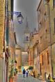 streets sanary sur mer provence cote azur riviera mediterranean south french european var france provencale church eglise saint nazaire st alpes te la francia frankreich