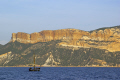 traditional provencale fishing boat cliffs cap canaille distance provence cote azur riviera mediterranean south french european bouches du rh ne france bateau geology alpes te la francia frankreich