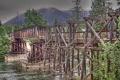 rickety wooden road bridge vancouver island canada river canadian bc british columbia