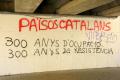graffiti catalan nationalist sitges reads 300 years occupation resistance refers defeat catalonia end siege barcelona 1714 catalunya spanish espana european independence nationalism north coast spain spanien espa espagne la spagna