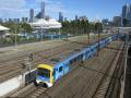 electric multiple unit melbourne city centre skyline background trains railways rail railroads transport transportation victoria australia australian