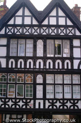 chester elizabethan half timbered building inscription fear lord fountain life buildings historical uk history british architecture architectural cestrian cheshire england english angleterre inghilterra inglaterra united kingdom