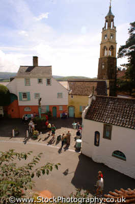 portmeirion bell tower courtyard portmerion british architecture architectural buildings uk prisoner cult mcgoohan folly follies clough williams-ellis williams ellis williamsellis gwynedd wales welsh país gales united kingdom