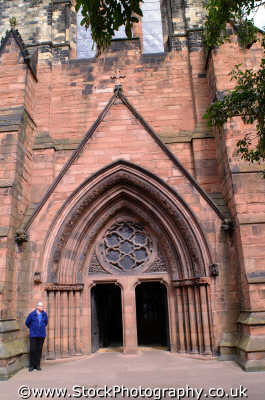 carlisle cathedral entrance uk cathedrals worship religion christian british architecture architectural buildings cumbria cumbrian england english angleterre inghilterra inglaterra united kingdom