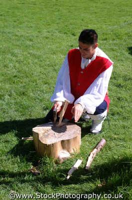culloden redcoat cutting wood costumes costumed people persons battles redcoats jacobites moray morayshire scotland scottish scotch scots escocia schottland united kingdom british
