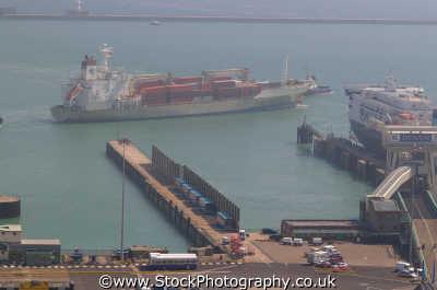 dover docks container ship uk coastline coastal environmental ports kent england english angleterre inghilterra inglaterra united kingdom british
