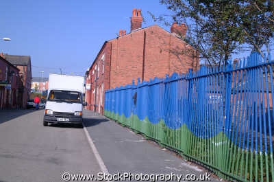 railings white van manchester mancunian north west northwest england english uk angleterre inghilterra inglaterra united kingdom british