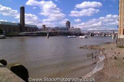 thames low tide millenium bridge tate modern blackfriars london capital england english uk river southwark cockney angleterre inghilterra inglaterra united kingdom british