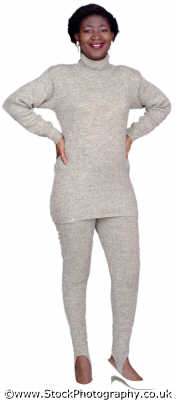 woman forties knitted outfit stiletto heels hands hips middle aged women prime menopause female females feminine womanlike womanly womanish effeminate ladylike people persons slimmer slimming negroes black ethnic portraits