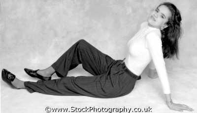 woman twenties beautiful reclining b&w young women female females feminine womanlike womanly womanish effeminate ladylike people persons gorgeous fetching shapely classy muslim islam arab black ethnic portraits