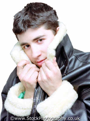 youth teenager fleecey leather jacket teenage boys teenagers adolescent pubescent male child males masculine manlike manly manful virile mannish people persons cold warm snuggle white caucasian portraits