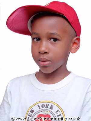 boy red baseball cap boys male child males masculine manlike manly manful virile mannish people persons new york city apprehensive unsure suspicious suspicion negroes black ethnic portraits