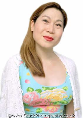 woman thirties chinese floral dress middle aged women prime menopause female females feminine womanlike womanly womanish effeminate ladylike people persons appealing black ethnic portraits