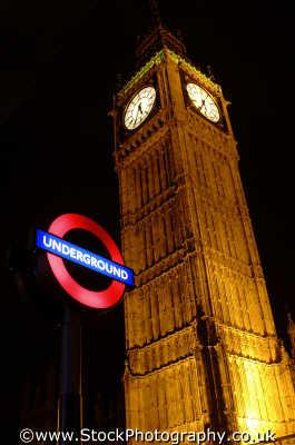 big ben underground sign night parliament square famous sights london capital england english uk tube dark nightime westminster cockney angleterre inghilterra inglaterra united kingdom british