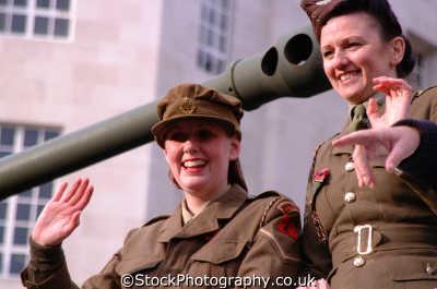armed forces girls historic waf uniform waving tank royal air force raf aeronautics uk military militaries womens lord mayors city london cockney england english angleterre inghilterra inglaterra united kingdom british
