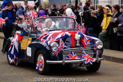 morris minor covered union jack flags austin mini motor cars automobiles transport transportation uk lord mayors city london cockney england english angleterre inghilterra inglaterra united kingdom british