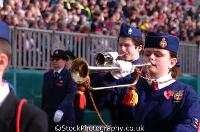 girls brigade trumpeters female children kids juveniles infants females feminine womanlike womanly womanish effeminate ladylike people persons horn lord mayors city london cockney england english angleterre inghilterra inglaterra united kingdom british