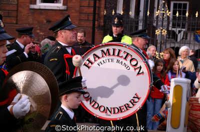 hamiltion londonderry flute band lord mayors parade london events capital england english uk bass drum marching city cockney angleterre inghilterra inglaterra united kingdom british