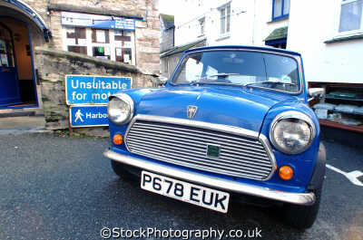 blue mini south west england southwest country english uk minor cars polperro cornwall cornish angleterre inghilterra inglaterra united kingdom british