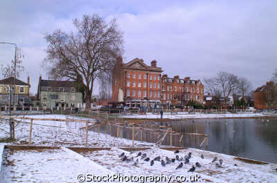 barnes common pond snow buildings architecture london capital england english uk winter weather richmond cockney angleterre inghilterra inglaterra united kingdom british