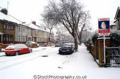 snow covered west london street buildings architecture capital england english uk winter weather richmond cockney angleterre inghilterra inglaterra united kingdom british