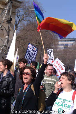 womens feelings vocal anti war demo young women woman female females feminine womanlike womanly womanish effeminate ladylike people persons frustration anger american usa globalisation civil disobedience direct action rally demonstrations white caucasian portraits united kingdom british