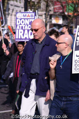 gay bald men peace march homosexuals queers poofs adult males masculine manlike manly manful virile mannish people persons anti american usa globalisation civil disobedience direct action rally demonstrations white caucasian portraits united kingdom british