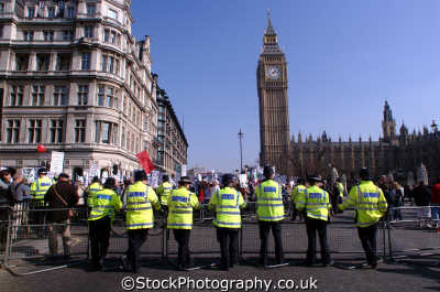 police cordon parliament square cops uk emergency services policing anti american usa globalisation civil disobedience direct action rally demonstrations westminster london cockney england english angleterre inghilterra inglaterra united kingdom british