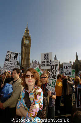 anti war protestors big ben iraq peace march london events capital england english uk american usa globalisation civil disobedience direct action rally demonstrations westminster cockney angleterre inghilterra inglaterra united kingdom british