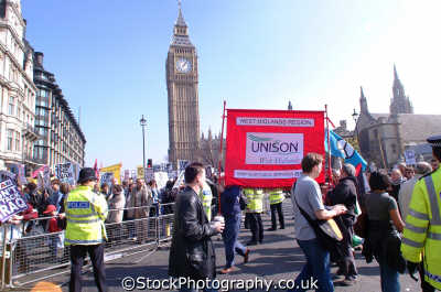 unison trade union banner anti war protest labour working people persons american usa globalisation civil disobedience direct action rally demonstrations westminster london cockney england english angleterre inghilterra inglaterra united kingdom british