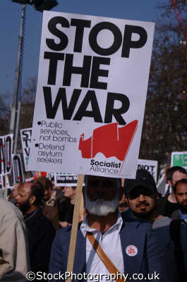 stop war banner iraq peace march london events capital england english uk anti american usa globalisation civil disobedience direct action rally demonstrations westminster cockney angleterre inghilterra inglaterra united kingdom british