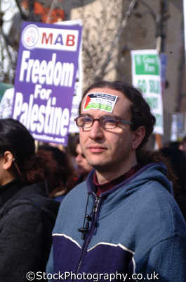 man anti isreali sticker forehead freedom palestine march iraq peace war london events capital england english uk american usa globalisation civil disobedience direct action rally demonstrations westminster cockney angleterre inghilterra inglaterra united kingdom british