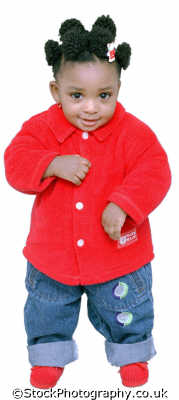 girl little red outfit babies baby infants girls female children kids juveniles females feminine womanlike womanly womanish effeminate ladylike people persons coy negroes black ethnic portraits