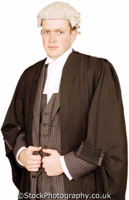 man dressed barrister wig gown young men adult males masculine manlike manly manful virile mannish people persons legal lawyer white caucasian portraits